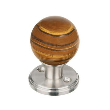 BANDED TIGER EYE 2 3/8 GEMSTONE DOOR KNOB SET