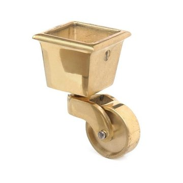 Restorers Classic Solid Brass Square Cup Caster - 1 Inch Wheel