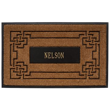COIR KNOT MAT W/BK & GOLD PERSONALIZED INSERT *DS*