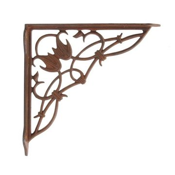 Restorers 8 1/2 Inch Floral Iron Shelf Bracket