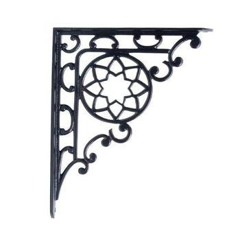 Restorers 12 1/2 Inch x 10 Inch Flower Design Iron Shelf Bracket