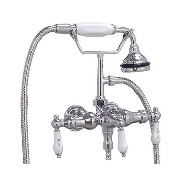 CHROME LEG TUB FILLER W/ PORCELAIN LEVERS