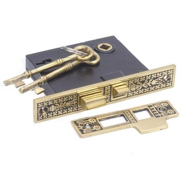 ORIENTAL INTERIOR MORTISE LOCK W/STRIKE-2 3/8BKST