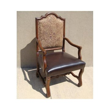 OCCASIONAL ARM CHAIR W/ LEATHER/TAPESTRY*DS*PPD*
