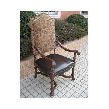 HIGH BACK ARM CHAIR W/ LEATHER/TAPESTRY*DS*PPD*