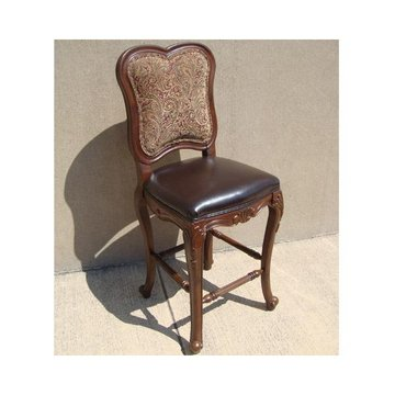 BAR CHAIR W/WD FRAME & LEATHER/TAPESTRY*DS*PPD*
