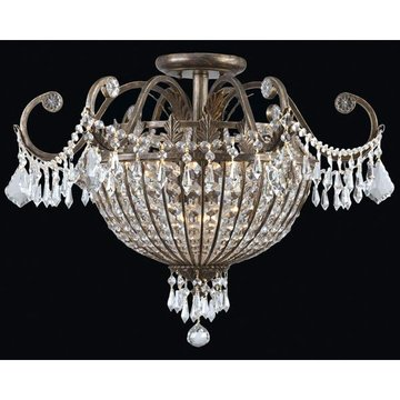 ENGLISH BRONZE CEILING MOUNT 6-60W CANDLE BULBS