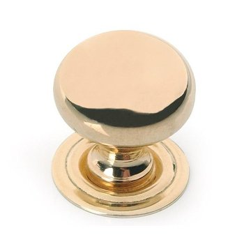 Restorers Classic Solid Brass Turned Knob With Backplate