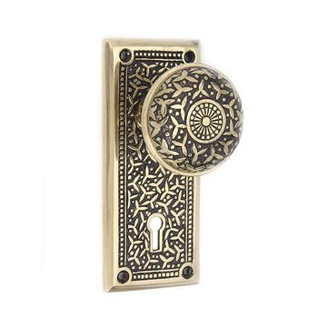 BLKND BRASS RICE MORTISE LOCK DOOR SET W/KNOBS