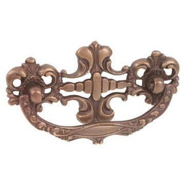 Restorers Ornate Antique Brass Bail Pull