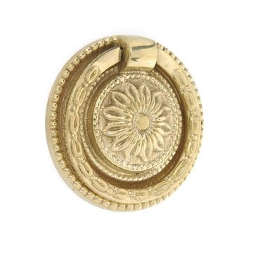 Restorers Brass Ring Pull with Round Floral Backplate