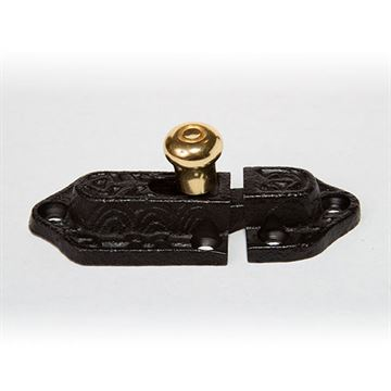 Restorers Classic Iron Cabinet Latch with Porcelain Knob