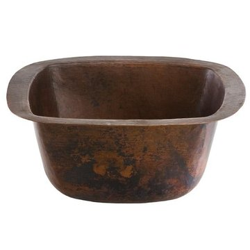 SQUARE BAR SINK SOLID 18 GAUGE AGED COPPER *DS*