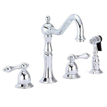 8 KITCHEN FAUCET W/LEVER HANDLES & SPRAYER