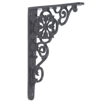 IRON SHELF BRACKET-BLACK POWDER COAT FINISH
