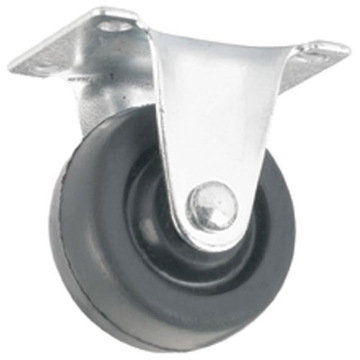 RIGID TOP PLATE CASTER W/ BLACK RUBBER WHEEL