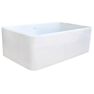30 Duet Reversible Fireclay Farmhouse Kitchen Sink With Smooth Front Apron