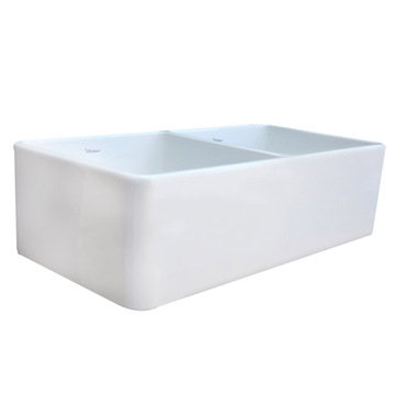 37 Duet Double Bowl Fireclay Farmhouse Kitchen Sink With Smooth Front Apron