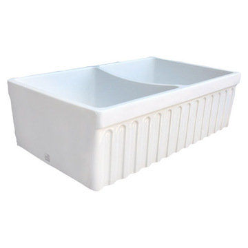 33 Quatro Alcove Reversible Double Bowl Fireclay Kitchen Sink With Fluted Front Apron
