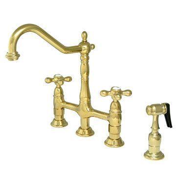 Kitchen Deck Mount Bridge Faucet with Brass Sprayer