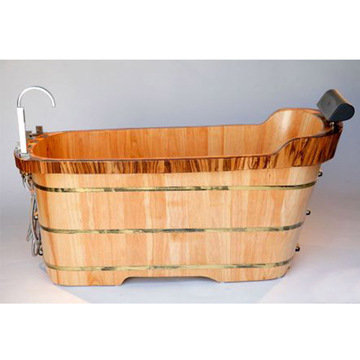 59 Free Standing Oak Wood Bath Tub With Chrome Tub Filler