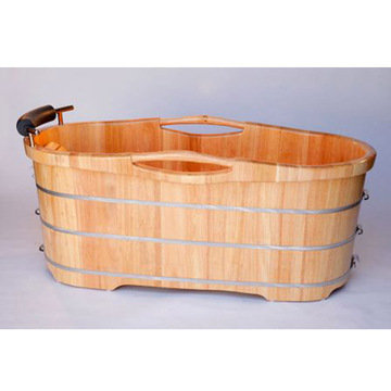 61 Free Standing Oak Wood Bath With Cushion Headrest