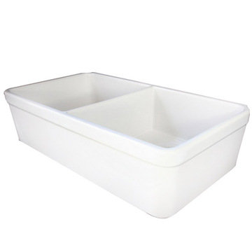 32 Double Bowl Fireclay Farmhouse Kitchen Sink With 1 3/4 Lip