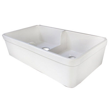 32 Short Wall Double Bowl Fireclay Farmhouse Kitchen Sink With 1 3/4 Lip