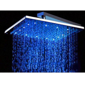 12 Square Multi Color Led Rain Shower Head