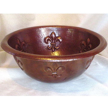Wind River Fleur De Lis Round Copper Self Rimming Sink