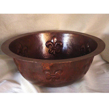Wind River Fleur De Lis Round Copper Undermount Sink