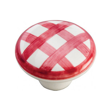 Belwith Keeler English Cozy Red Checker Knob