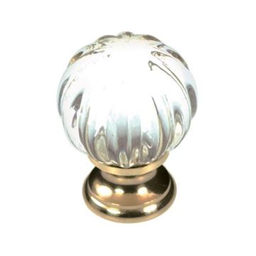 Belwith-Keeler Luster Glass Melon Knob with Brass Base