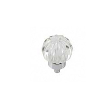 Belwith-Keeler Luster Glass Melon Knob With Chrome Base