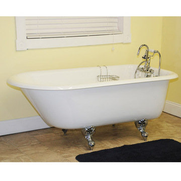 Restorers 61 Inch Rolled Rim Clawfoot Cast Iron Bath Tub
