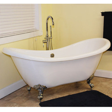 Restorers 68 Inch Double Slipper Clawfoot Acrylic Bath Tub