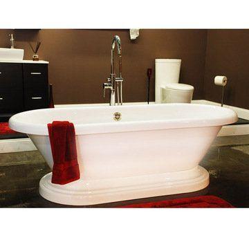 Restorers 70 Inch Dual End Pedestal Acrylic Bath Tub
