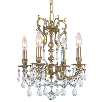 Crystorama Gramercy Collection 4 Light Aged Brass Mini Chandelier