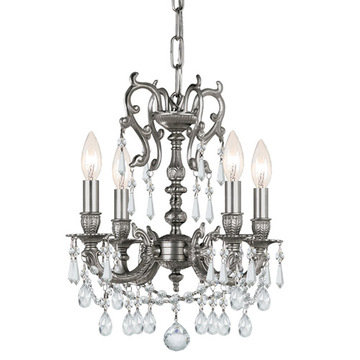 Crystorama Gramercy Collection 4 Light Pewter Mini Chandelier