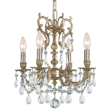 Crystorama Gramercy Collection 5 Light Aged Brass Chandelier