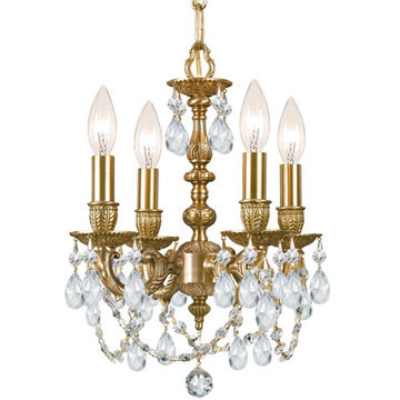Crystorama Mirabella Collection 4 Light Aged Brass Mini Chandelier