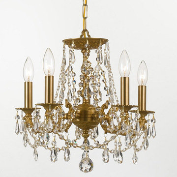 Crystorama Mirabella Collection 5 Light Aged Brass Chandelier