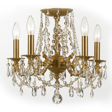 Crystorama Mirabella Collection 5 Light Aged Brass Flush Mount