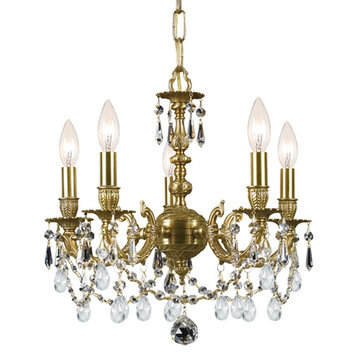 Crystorama Mirabella Collection 5 Light Aged Brass Mini Chandelier