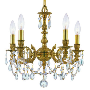 Crystorama Mirabella Collection 5 Light Olde Brass Mini Chandelier