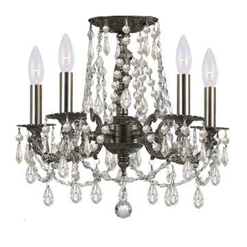 Crystorama Mirabella Collection 5 Light Pewter Flush Mount