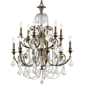 Crystorama Regis Collection English Bronze 12 Light Chandelier