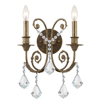 Crystorama Regis Collection English Bronze 2 Light Wall Sconce