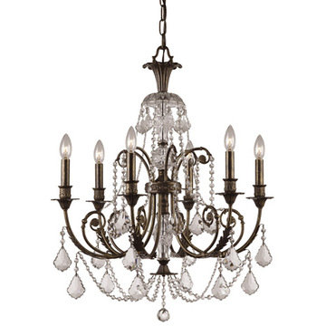 Crystorama Regis Collection English Bronze 6 Light Chandelier