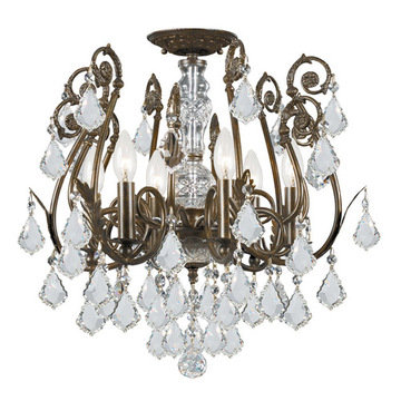 Crystorama Regis Collection English Bronze 6 Light Semi Flush Mount